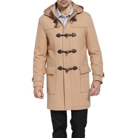 BGSD Mens Benjamin Wool Blend Classic Duffle Coat (Wool Blend Long Military Coat Eliza J)