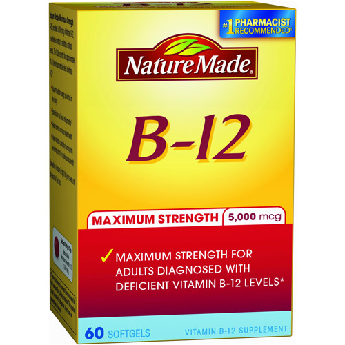 Nature Made Maximum Strength B-12 Dietary Supplement Softgels, 5000mcg , 60 count