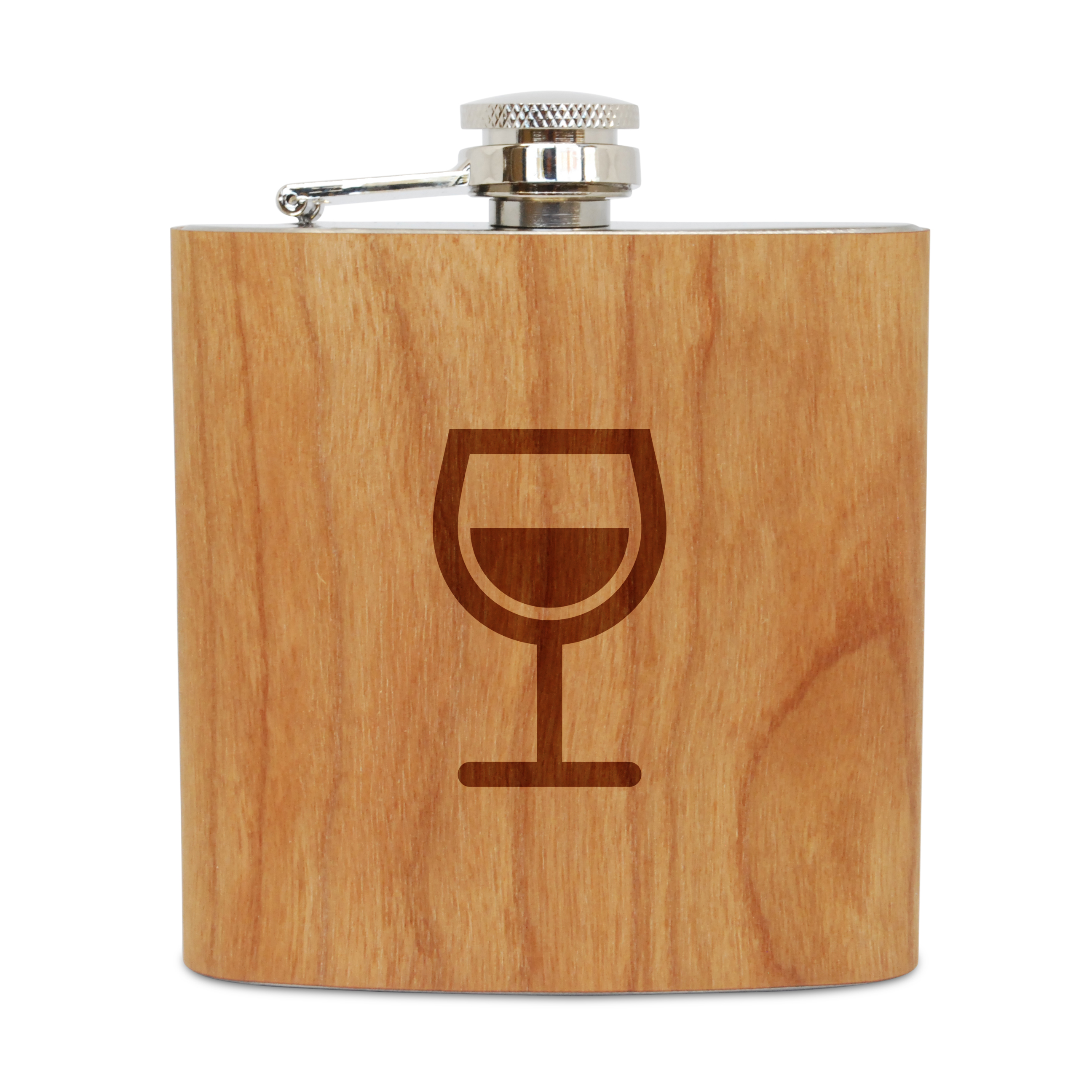 Wine Glass 6 Oz Wooden Flask (Cherry), Stainless Steel Body, Handmade In Usa