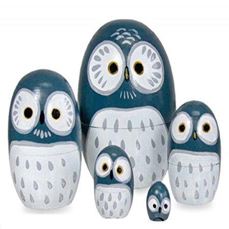 Happy Sales Hsmd5 Bl Wood Nesting Owl Doll Blue Walmart Com