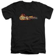 Constantine Logo In Flames Mens V-Neck Shirt