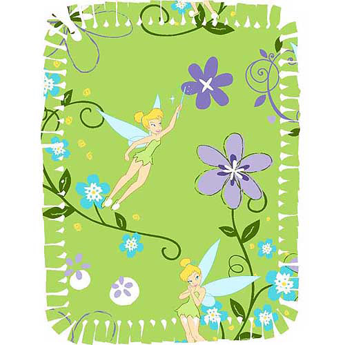 Creative Cuts Microfiber No Sew Throw Kit, Disney Tinkerbell Floral, Lime Green