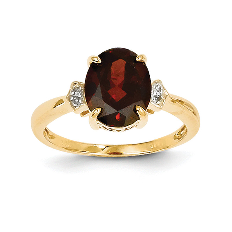 14K Diamond and Garnet Oval Ring by Kevin Jewelers
