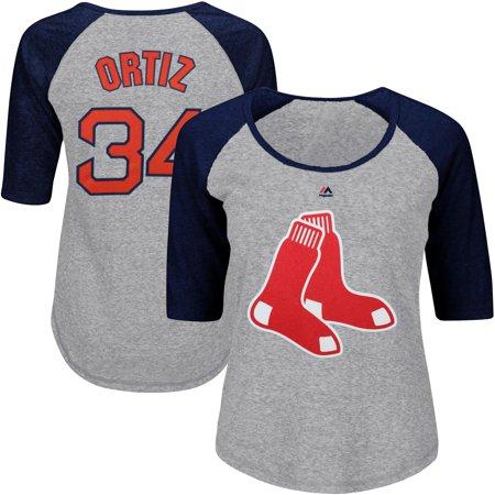 David Ortiz Boston Red Sox Majestic Women's Plus Size Name & Number Three-Quarter Sleeve Raglan T-Shirt - Gray David Ortiz Signed Bat