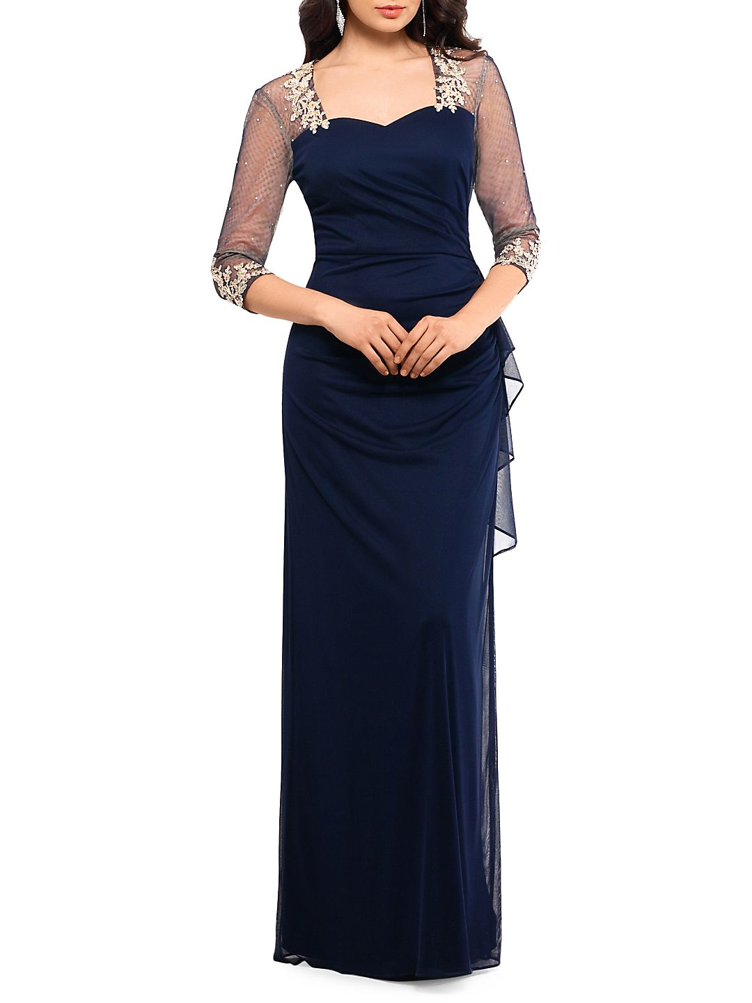 Embellished Three-Quarter Sleeve Gown