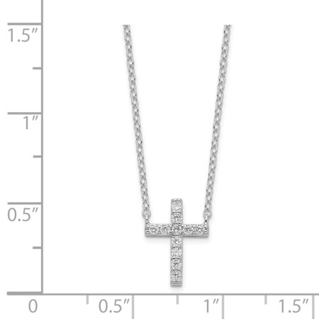 925 Sterling Silver Cubic Zirconia Cz Cross Religious 2 Inch Extension Chain Necklace Pendant Charm Fine Jewelry Gifts For Women For Her - image 2 de 6