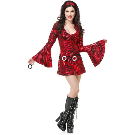 Womens 70s Zebra Diva Costume Black Red Striped Disco Dress - Striped Dress Costume