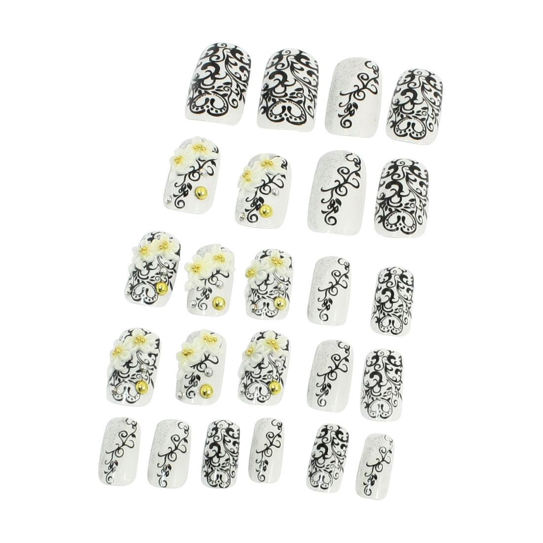 Unique Bargains 24 x Self-Adhesive 5 Different Sizes Plastic Artificial Nails Tips Black White