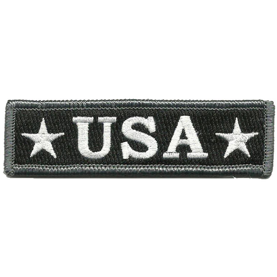 "U.S.A. Tactical Morale Patch, 1"" x 3.75"", Black and White"