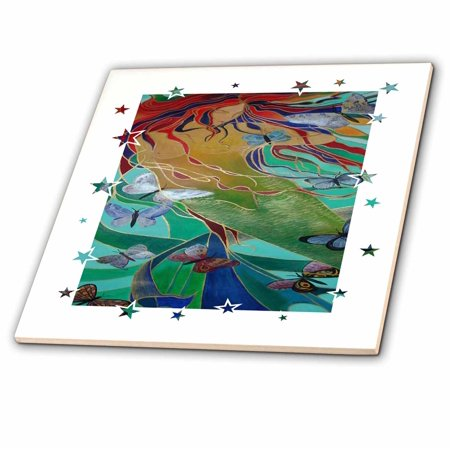 3dRose Mermaid and Butterflies - elusive, untamed, art nouveau, femininity, mythology, butterflies, mermaid - Ceramic Tile, 4-inch