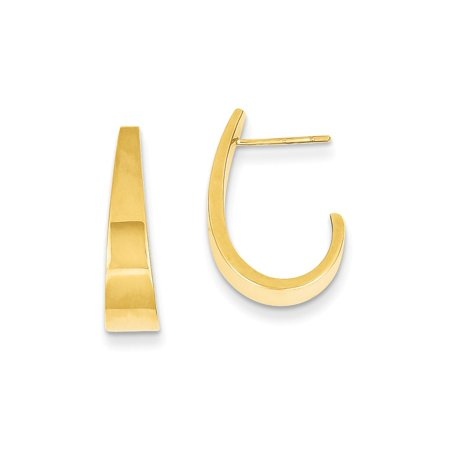(Solid 14k Yellow Gold Medium Polished J Hoop Earrings (5mm x 19mm))