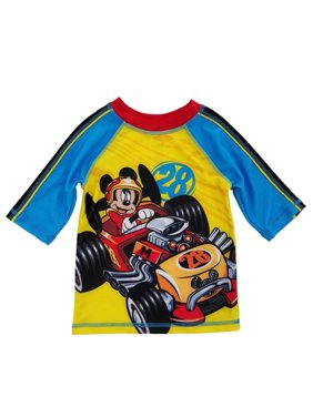 Mickey and the Roadster Racers Toddler Boys Yellow/Blue Rash Guard Swim Shirt