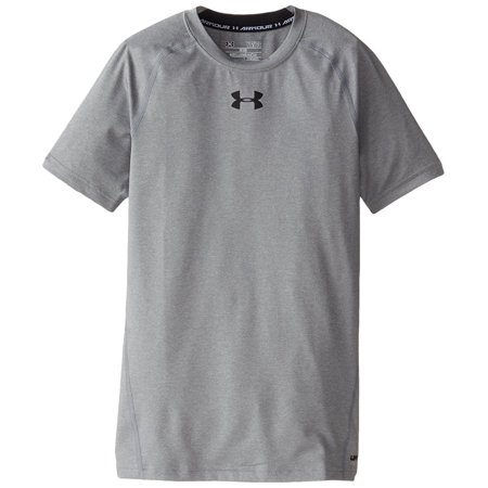 c49c2bf172 Under Armour Boys' HeatGear Armour Short Sleeve Fitted Shirt, True Gray  Heather/Black, Youth Small