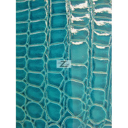 Vinyl Faux Fake Leather Pleather Embossed Shiny Alligator Fabric / Turquoise / Sold By The Yard