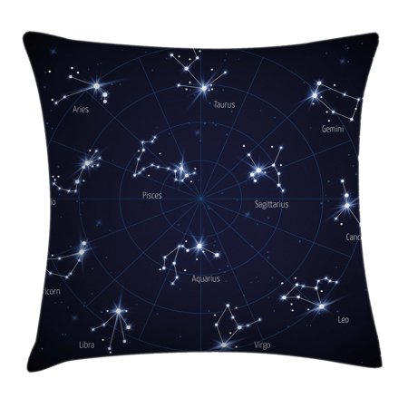 Constellation Throw Pillow Cushion Cover, Sky Star Map with Geometric Circle Space Night Horoscopes Chart Dark, Decorative Square Accent Pillow Case, 20 X 20 Inches, Dark Blue White, by Ambesonne Navy Chart Map