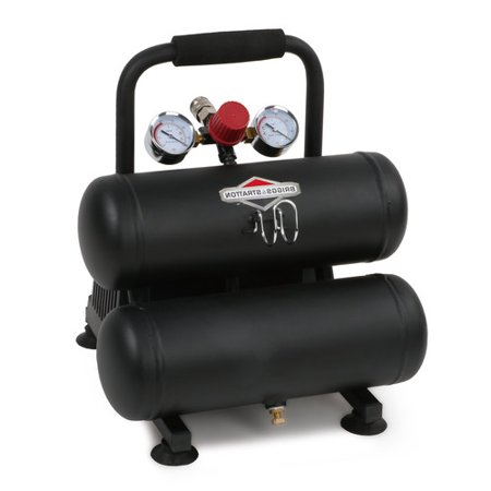 Briggs & Stratton 2 Gallon 1/3 HP 100 PSI Twin Stack Air (Best Air Compressor Under 100)