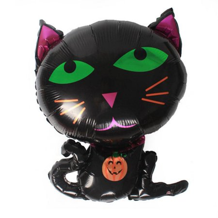 Tbest Halloween Balloon Cartoon Cute Black Cat Shape Aluminum Balloons for Party Decoration , Party Decor Balloon, Halloween Balloon