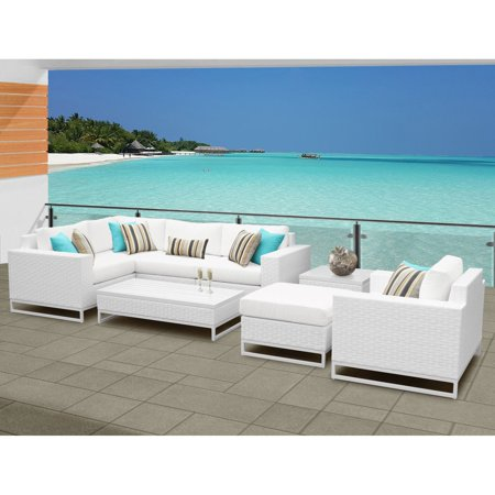 TK Classics Miami Wicker 8 Piece Corner Sofa Patio Conversation Set ()