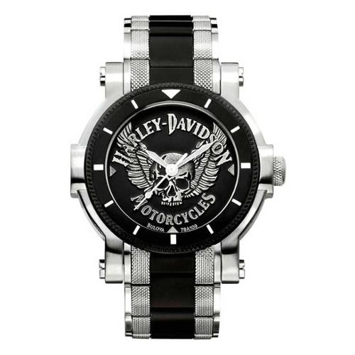 Harley-Davidson Men's Bulova Winged Skull Wrist Watch 78A...