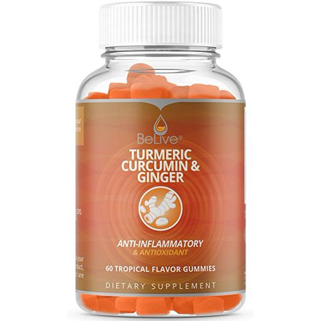 Turmeric Curcumin & Ginger Gummies for Anti Inflammatory, Joint Pain Relief, Antioxidants. Vegetarian Friendly, 100% Natural, Kosher & Halal Certified 60