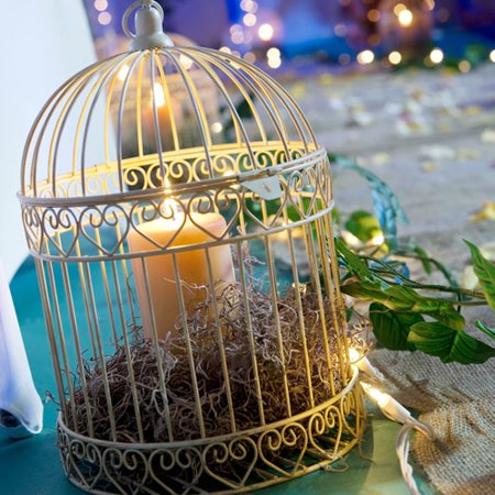 Decorative Ivory Bird Cage Centerpiece - Roaring 20s Centerpieces