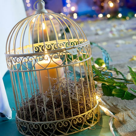 Decorative Ivory Bird Cage Centerpiece