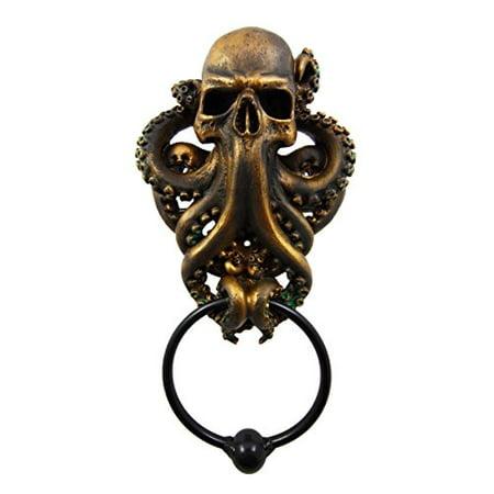 Ebros Gift Bermuda Triangle Ocean Monster Octopus Kraken Warrior Decorative Resin Door Knocker Figurine