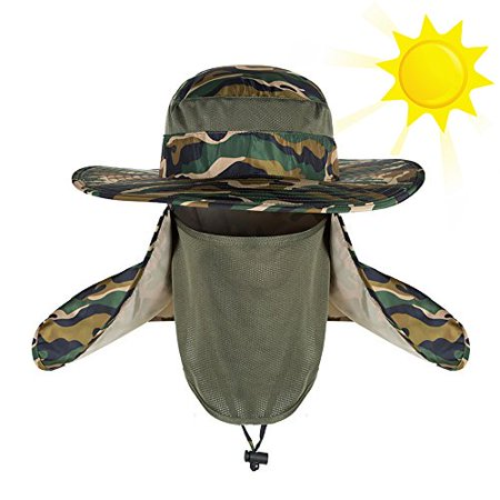 8567aecff32dc Novo Summer Outdoor Sun Protection Fishing Cap Neck Face Flap Hat Wide Brim  Shade Hiking Hunting Boating Fishing Garden Man Women Camouflage -  Walmart.com