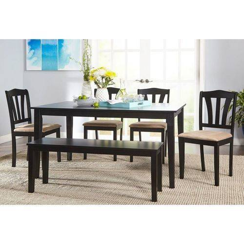 Metropolitan 6 Piece Dining Set With Bench, Black