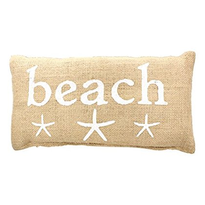 BEACH' French Country House Burlap Accent Pillow - White Print with Starfish - 6-in x - White Starfish