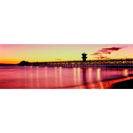 Orange County Pier (Seal Beach Pier at sunset Seal Beach Orange County California USA Canvas Art - Panoramic Images (6 x 18) )