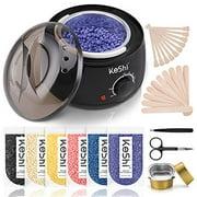 Waxing Kit, KeShi Wax Warmer Hair Removal Home Wax Kit with 16.8oz 6 Bags Hard Wax Beans for Legs, Face, Eyebrows, Bikini, Brazilian Waxing for Women Men