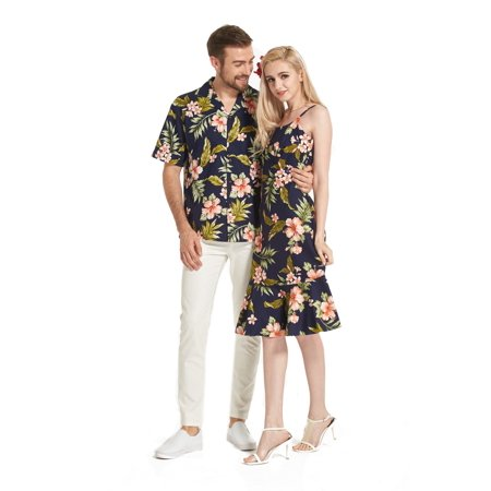 Made in Hawaii Premium Couple Matching Luau Aloha Shirt Dress Floral Navy with Pink Floral S-2XL