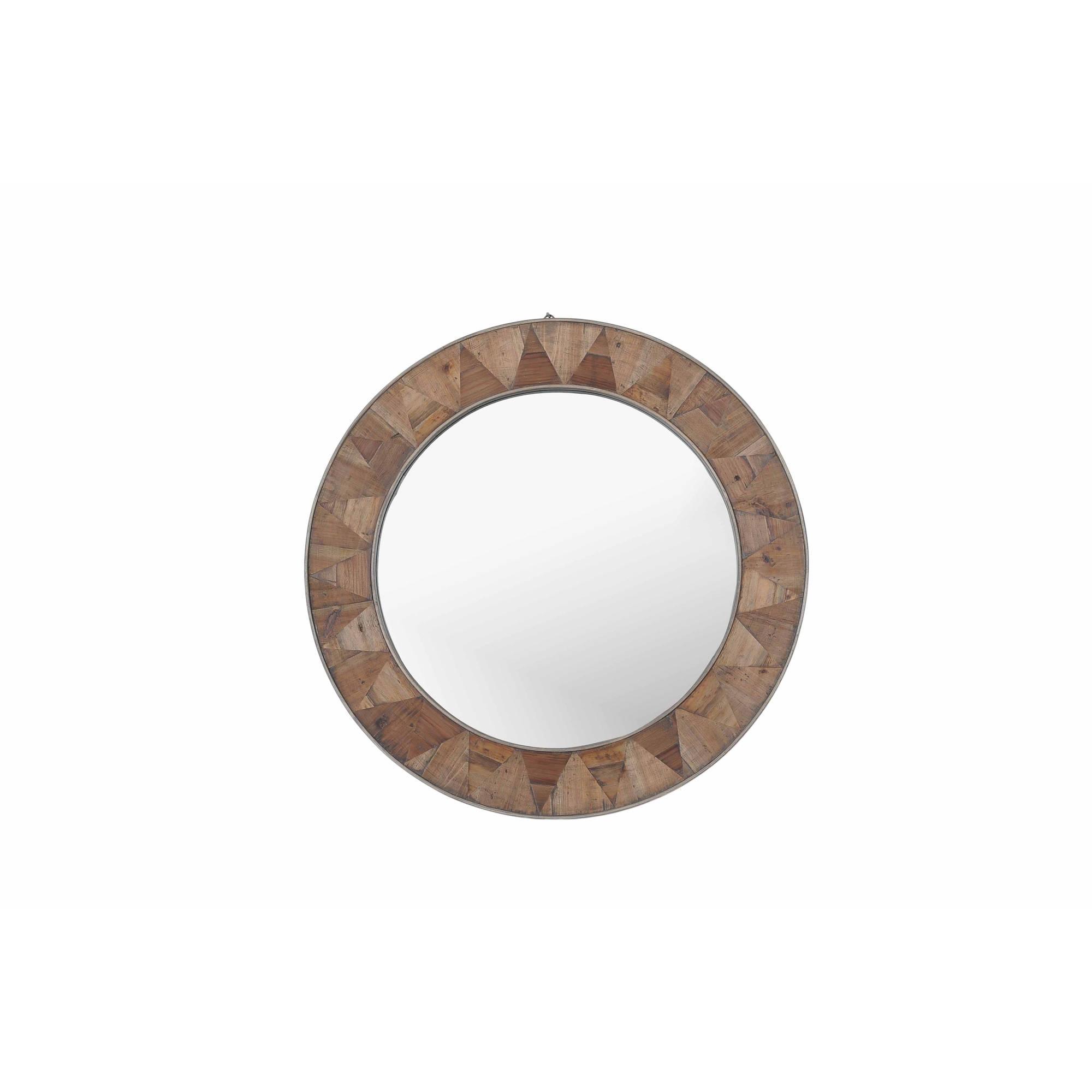 "Sunjoy 130201007 Recycled Fir Wood Wide Border Round Mirror, 31.5"" by SunNest Services LLC"