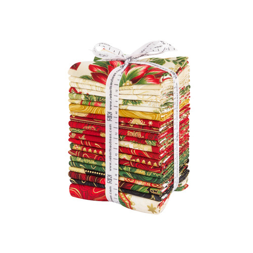 Peggy Toole Holiday Flourish Holiday Fat Quarter Bundle 20 FQs + Panel Precut Metallic Quilting Fabric Robert Kaufman FQ-1332-21