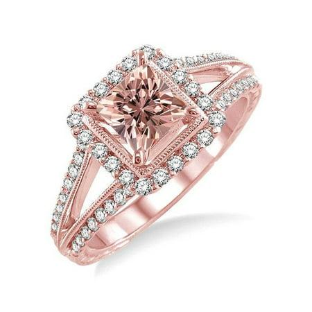 85f7d91edff7f Huge 2 Carat Princess cut Morganite and Diamond Engagement Ring in 14k Rose  Gold affordable morganite & diamond engagement ring