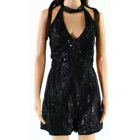 Black Sequin Halter - Missguided NEW Black Womens Size 8 Sequin Embellished Halter Romper
