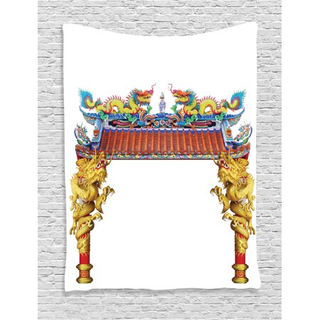 Dragon Decor Tapestry, Chinese Style Dragon Archway Statue over Pillars in Asian Mythology Art, Wall Hanging for Bedroom Living Room Dorm Decor, 60W X 80L Inches, Yellow Red Blue, by Ambesonne