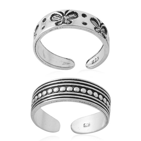 Set of 2 Ring 925 Sterling Silver Engraved Toe for Women Jewelry Gift 3.2 g