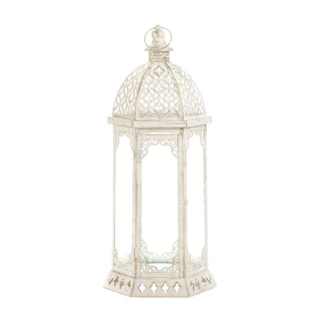 Graceful Distressed White Large Lantern, The lantern vintage White finish is the perfect complement to its embellished cutouts By Koehler,USA ()