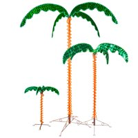 Wintergreen Lighting Holographic Lighted Palm Tree, LED Palm Tree Patio Decor, Artificial Tree, 4.5ft Holographic Rope Light Palm Tree
