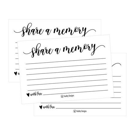 25 Funeral or Birthday Share a Memory Cards Keepsake, Condolence Sympathy Memorial Acknowledgment, Remembrance Appreciation Celebration of Life Service Supplies Guest Book Alternative Advice Game Idea (Birthday Ideas Nyc)