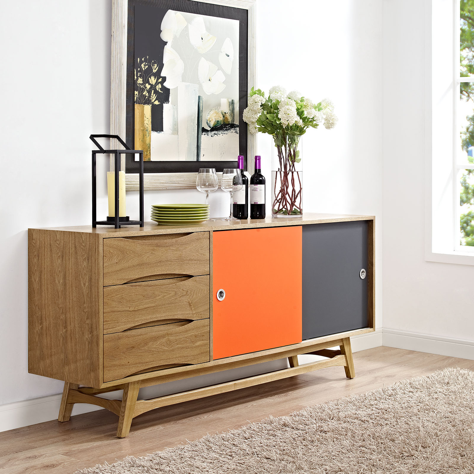 Modway Concourse Side Board Cabinet Table or TV Stand in Natural