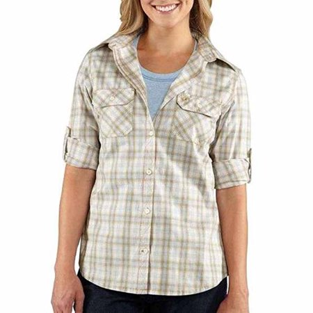 Carhartt Womens Huron Shirt 100341, Aqua Sky, XSR Carhartt Twill Shirt