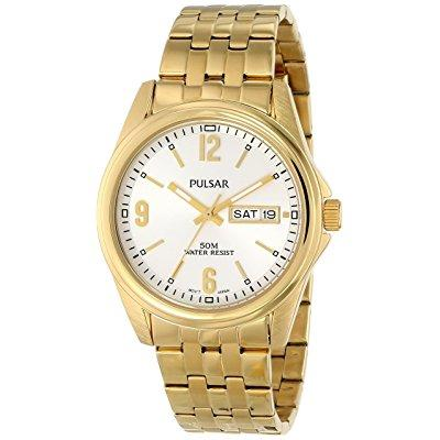 PULSAR men's pv3004 analog display japanese quartz gold w...