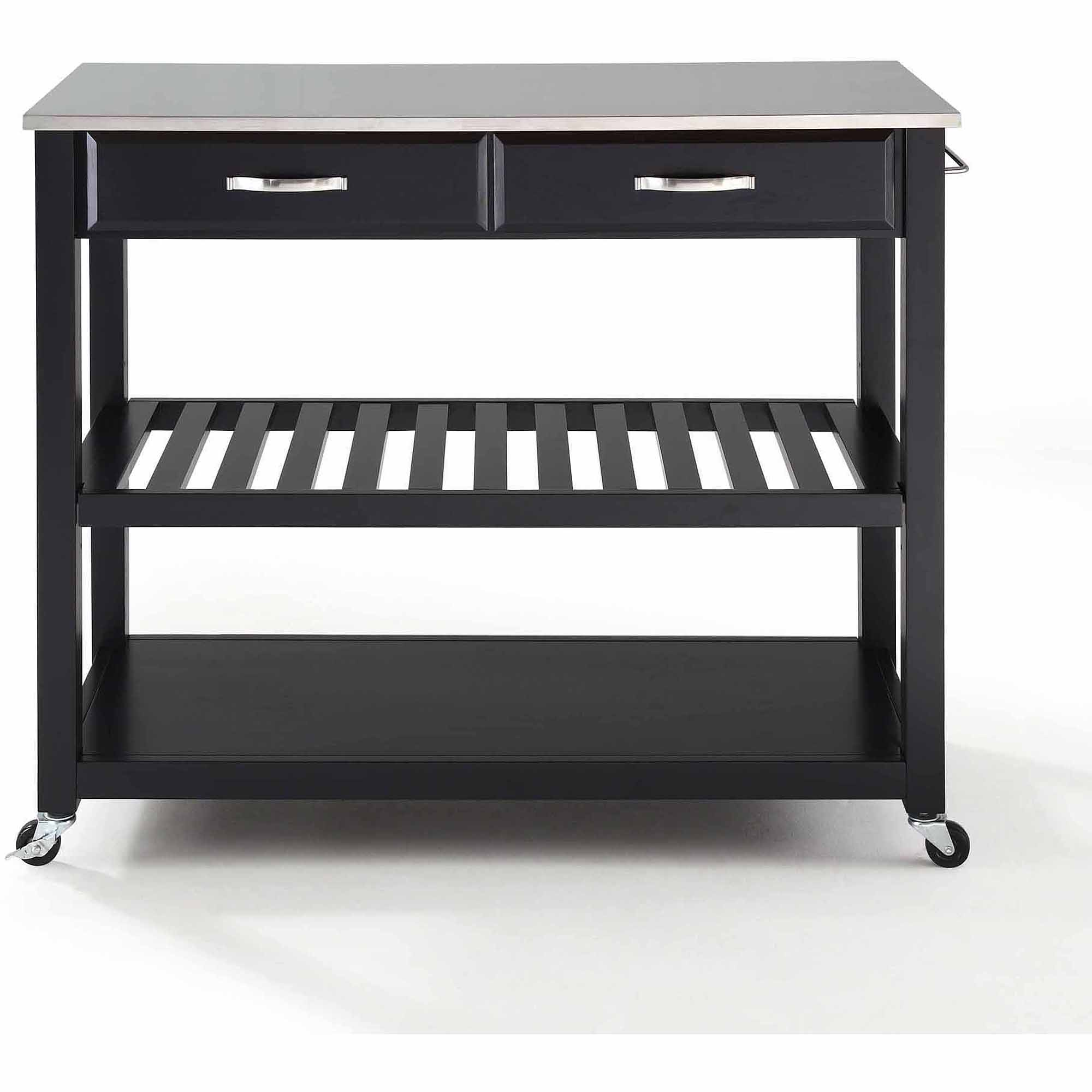Crosley Furniture Stainless Steel Top Kitchen Cart With Optional Stool  Storage   Walmart.com