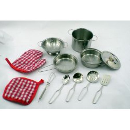 Real Stainless Steel Pots And Pan Kitchen Dish Set For Children
