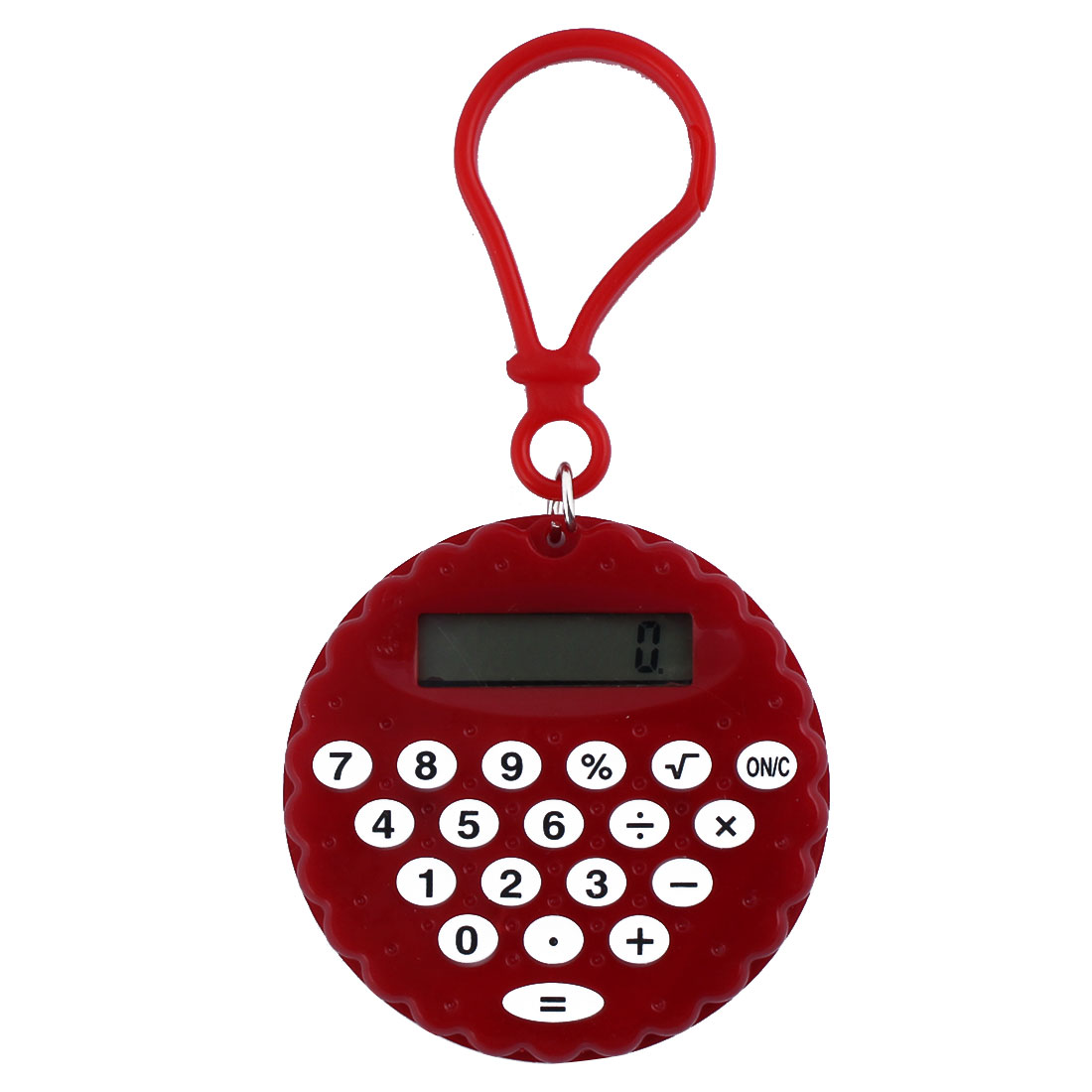 Plastic Biscuit Shape Portable LCD Display 8 Digits Calculator Key Chain Red