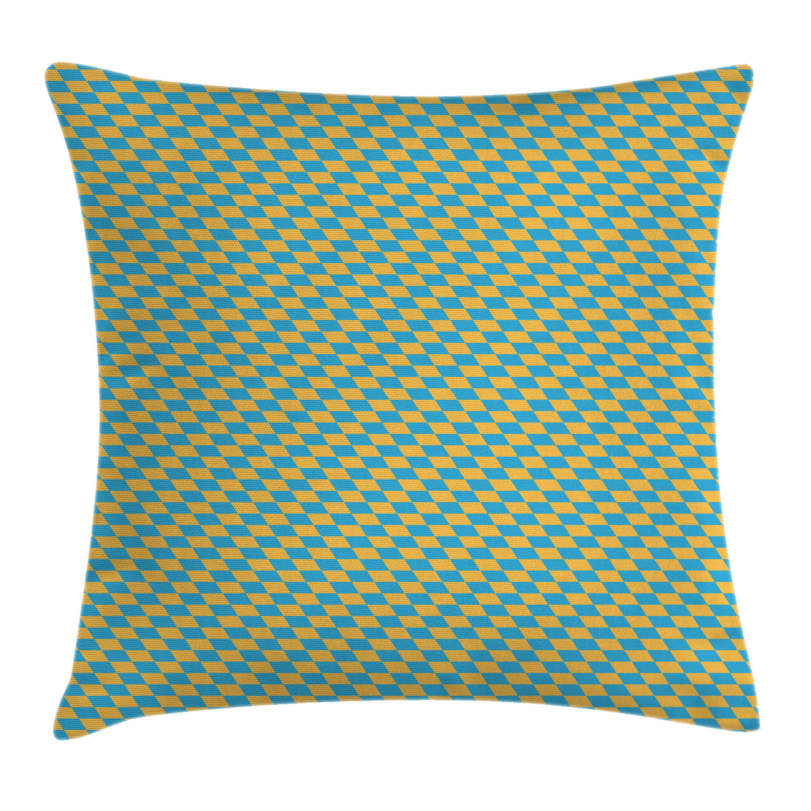 Kids Throw Pillow Cushion Cover, Diagonal Geometrical Retro Pattern Skewed Squares Tile Design in Shabby Colors, Decorative Square Accent Pillow Case, 16 X 16 Inches, Marigold Sky Blue, by Ambesonne