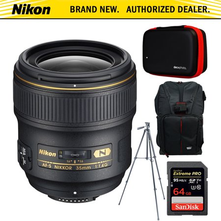 Nikon AF FX Full Frame NIKKOR 35mm f/1.4G Fixed Focal Length Lens + 64GB Accessories Bundle Includes Backpack for Cameras + All-in-1 Cleaning Kit for DSLR Cameras + 60